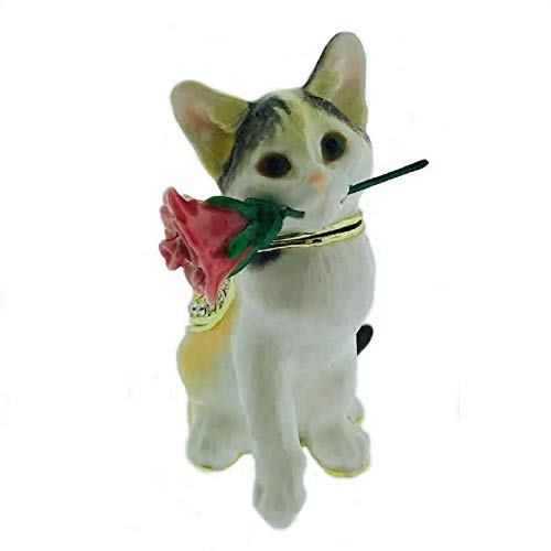 Home and Holiday Shops Cat with Rose Bejeweled Enamel Jewelry Trinket Keepsake Box Container New ()