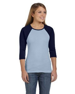 Bella + Canvas 5.8 oz., 1x1 Baby Rib 3/4-Sleeve Contrast Raglan T-Shirt (B2000) -BABY BLUE/NA -2XL