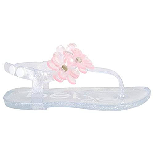 e274e9773226 bebe Girls Flower Thong Jelly Sandals - Set of 2 - Ankle Strap Open Toe Flat