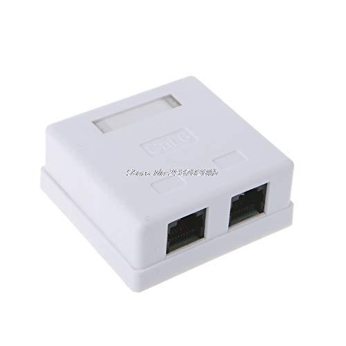Hariier RJ45 Junction Box CAT6 Network Connector 2 Port Desktop Extension Cable Box HUZZ/_7