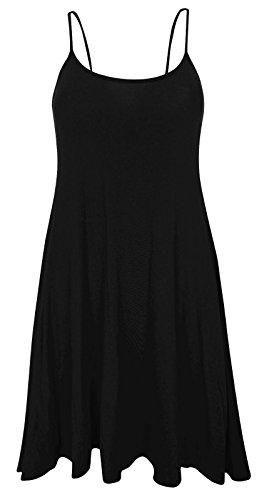 Fashion forti 54 con smanicato donna Vestito mimetico taglia 36 Black motivo svasato taglie da Fairies lungo stampato rcqg1wrR0