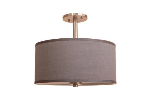 (Woodbridge Lighting 13435STN-S11502 3-Light Single Shade Satin Nickel Semi-Flush Mount, 15