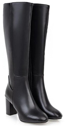 Long IDIFU Black Sexy Knee Riding Chunky Womens Zip Round High Booties Toe Mid Heels Boots Full 11w7q4