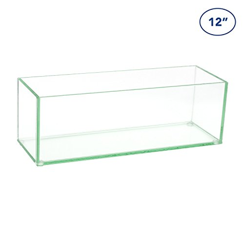 Royal Imports Flower Glass Vase Decorative Centerpiece For Home or Wedding by Oblong Rectangle Shape, 12