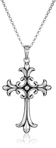 Sterling Silver Oxidized Celtic Cross Pendant Necklace, 18