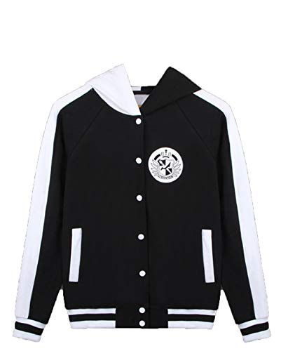 Coslover Black White Bear Hoodies Zipper Unisex Jacket Uniform