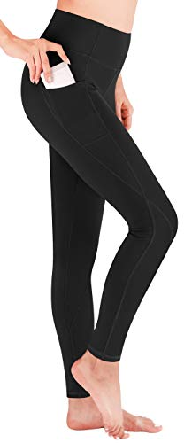 Heathyoga Yoga Pants with Pockets High Waist Leggings for Women Girls Workout Running & Yoga, Super Comfy Non See-Through and 4 Way Stretch Yoga Leggings (H7521 Black, Medium) ()