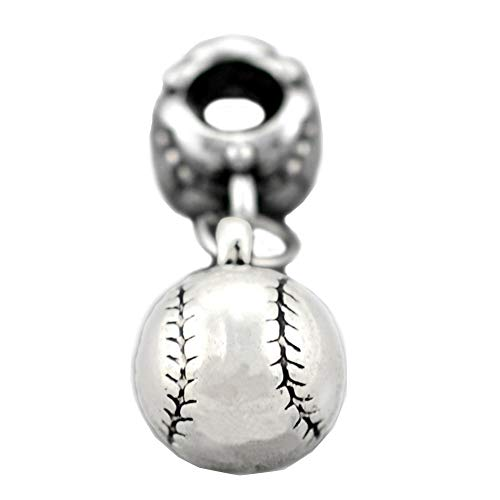 Bling Stars Sports Charm Dangle I Love Baseball Charms Beads For Snake Chain Bracelets