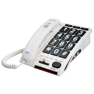 High Volume 45 dB Cool Fashioned Style House School Large Push Button Key Corded White Telephones For Old Who May Have Low Vision Visually Sight or Hearing Impaired In 1940s 1920s 1900s 1950s 1930s