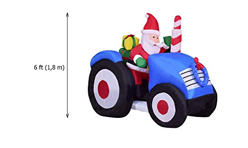 MBN 6 Foot Outdoor/Indoor Santa Claus Inflatable with Truck Christmas Yard Lawn and Garden Party Decorations Blow Up Xmas Decor Santa On Tractor Built in Fan and Anchor Ropes -