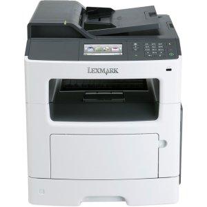 Lexmark MX410DE Laser Multifunction Printer - Monochrome - Plain Paper Print - Desktop - Copier/Fax/Printer/Scanner - 38 ppm Mono Print - 1200 x 1200 dpi Print - 38 cpm Mono Copy - Touchscreen - 1200 dpi Optical Scan - Automatic Duplex Print - 300 sheets