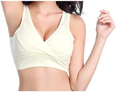 Maternity Racerback Sleep Bra Extra Soft Cotton Comfortable Pregnant Woman Nursing Bra No Rims Breastfeeding Bra Yellow L