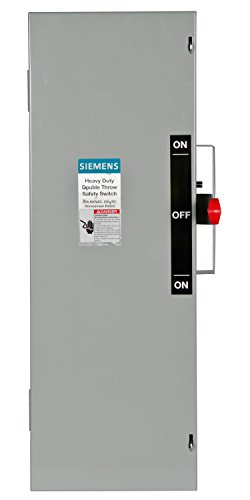 Siemens DTF362 60-Amp, 3 Pole, 600-volt, 3 Wire, Fused Double Throw, Type 1