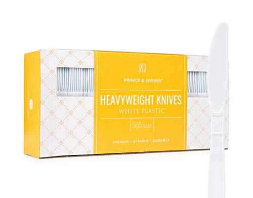 (Prince & Spring Heavyweight Knives White Plastic, 500 Count,)