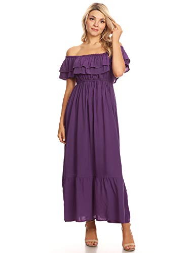 Anna-Kaci Womens Boho Peasant Ruffle Stretchy Short Sleeve Long Dress, Purple, Medium