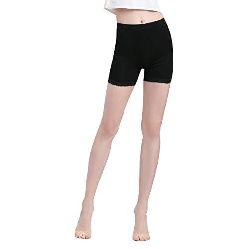 04ec9c6cd45d67 Vinconie Women Sexy Stretch Black Lace Trim Modal Leggings Safety Pants Gym  Yoga Boy Shorts low