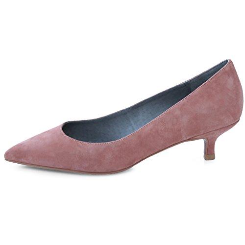 HXGL Cuero de Moda de Tacón Medio y bajo con Punta Zapatos de Mujer Coreanos Solos Boca Baja Zapatos de Boda de Marea Rosa Primavera (Color : Pink, Tamaño : 34) Pink
