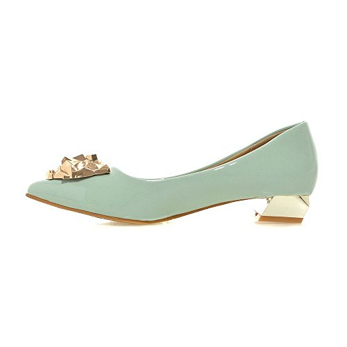 Odomolor Women's PU Solid Pull-on Closed Pointed Toe Low-Heels Pumps-Shoes Green zw3gIW