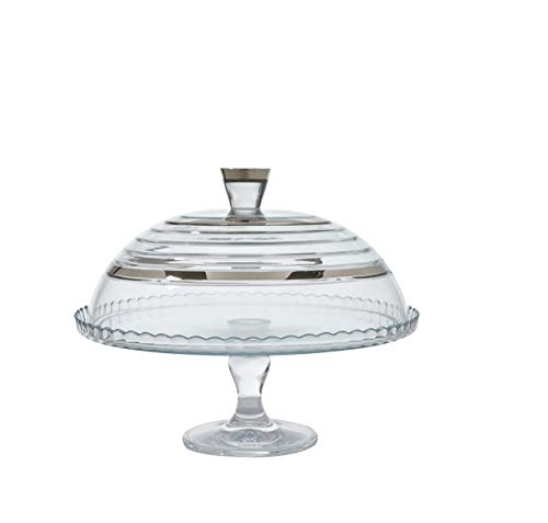 (Glazze Crystal APP-458-PL Appalachia Luxury Dome with Real 24K Wide Platinum Riming | Sophisticated Pedestal Cake Plate with Glass Cover, 9
