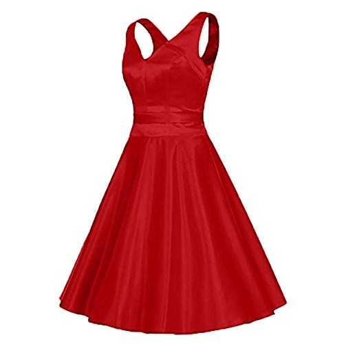 Rot A Partykleider Charmant Linie V Knielang Ausschnitt Damen Einfach Satin Abendkleider Brautjungfernkleider Rock Kurz 00vO1nxq