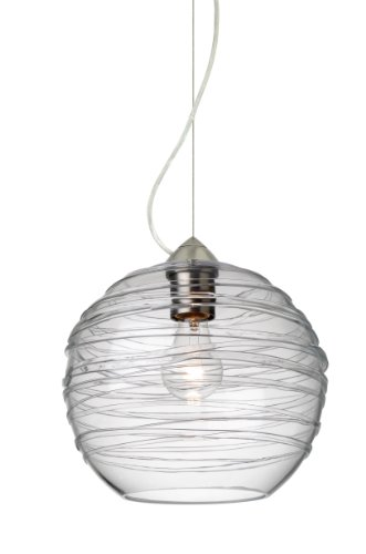 Besa Lighting 1KX-462761 Wave 1 Light Mini Pendant with Clear Shade, Satin Nickel