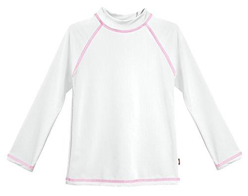 City Threads LS Baby Girls' Rashguard Swimming Suit Swim Tshirt Tee UPF50+ Sun Protection for Beach Pool Summer Fun, LS White/Pink, 18-24m
