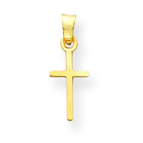 Gold Hollow Cross Charm (14K Yellow Gold Cross Charm Pendant)