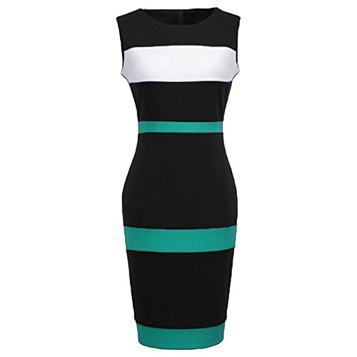 WOOSEA Women's Sleeveless Voguish Colorblock Stripe Cocktail Party Pencil Dress (Large, Cyan Blue)