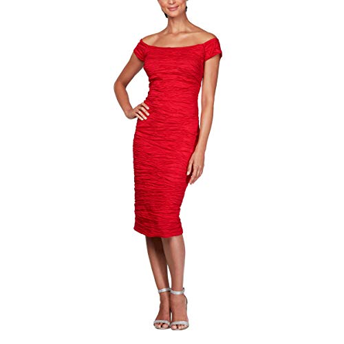 - Alex Evenings Women's Midi Off-The-Shoulder Stretch Taffeta Sheath Dress, red, 6