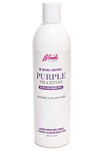 Natural Additives Purple Shampoo, Sulfate and Paraben Free, Violet Anti Brass Toner, Hydrating Icy Toning for Blondes, Silvers and Grays, Amino Acids, Castor Seed Oil, Olive Oils, Moisturize, -