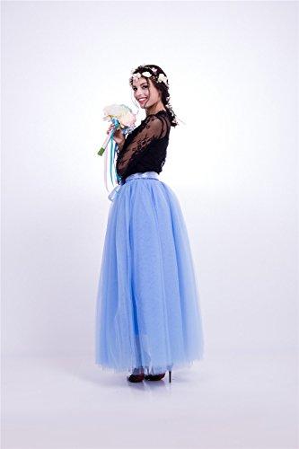 FOLOBE Mujer 1950 Vintage Puffy Tutu Faldas Maxi Tulle Bridesmaid Petticoat Slip 7 Capas 100cm / 39.4in Azul