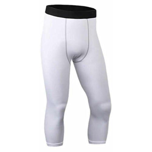 78d3b7012fa Papijam Mens Fitness Skin Tights Pro Running Training Compression Base  Under Layer Fast Dry Capri Tight
