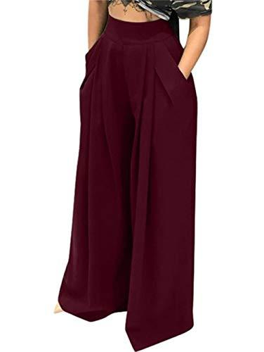Famnbro Women's Palazzo Pants Plus Size High Waist Wide Leg Lounge Pants with Pockets