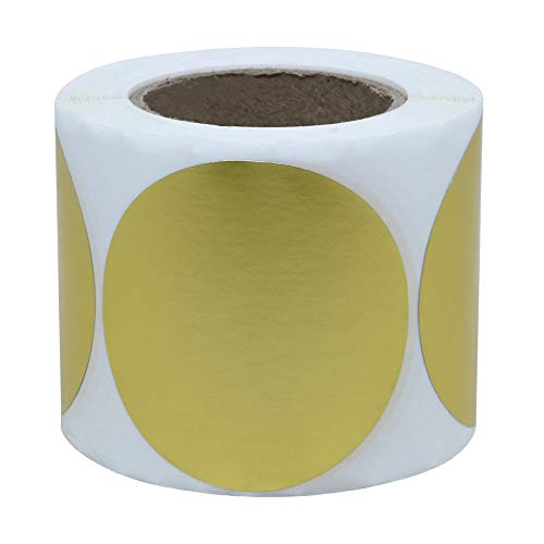 "Hybsk Gold Labels 2"" Round Color Coding Dots Stickers Adhesive Label 300 Per Roll (Gold)"