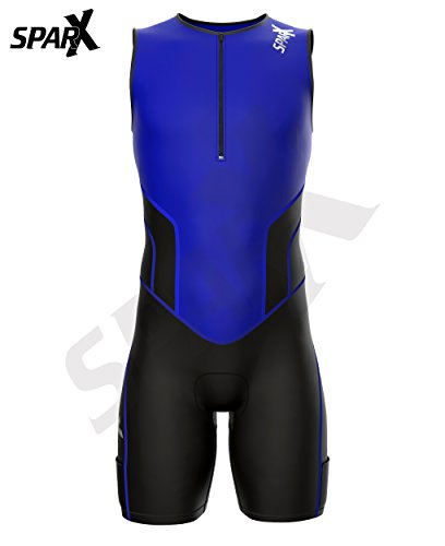 Sparx X Triathlon Suit Racing Tri Cycling Skin Suit Bike Swim Run (Blue, Large) by Sparx Sports (Image #3)