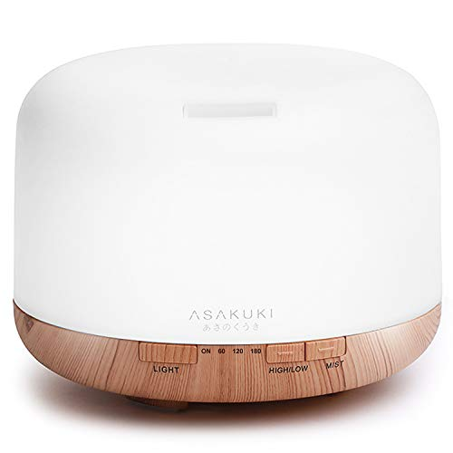 ASAKUKI 2019 500ml Essential Oil Diffuser, Premium 5 In 1 Ultrasonic Aromatherapy Scented Oil Diffuser Vaporizer Humidifier, Timer and Waterless Auto-Off, 7 LED Light Colors