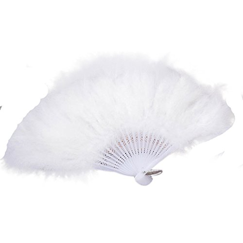 Juesi Roaring 20s Vintage Style Folding Handheld Flapper Marabou Feather Hand Fan for Costume Halloween Dancing Party Tea Party Variety Show (White)]()