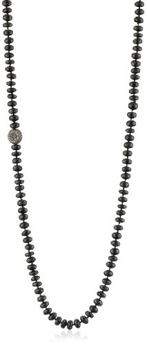 "Lena Skadegard ""Thaleia"" Faceted Black Spinel with Pave Diamond Bead Necklace"