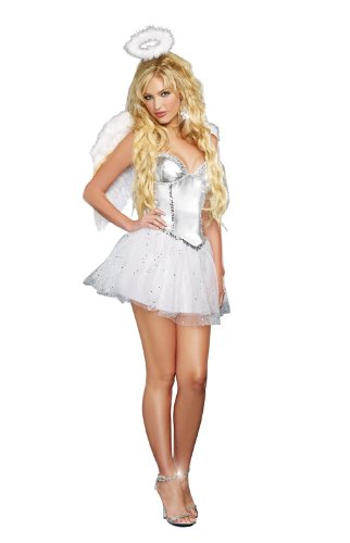 [Dreamgirl Women's Angel Baby, White, Large] (Angel Halloween Costumes For Women)