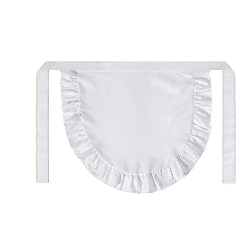 SUN2ROSE Girls Cosplay Waist Apron Tight Costume, White Cotton Half Apron Kitchen Party Favors Also Fits for Kids Apron (Small) (Bonnet Apron)