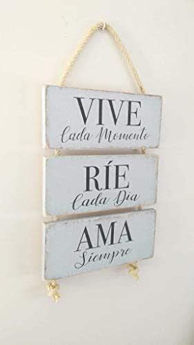 Letrero de Madera con Frases. Mensajes Positivos e inspiradores para decorar tus espacios, regalar, compartir y disfrutar. Hechos de Madera-Vive-Ríe-Ama- Cuadro Personalizado