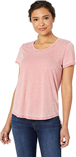 Two by Vince Camuto Women's Short Sleeve Burnout Jersey Scoop Neck Tee Smokey Coral X-Small