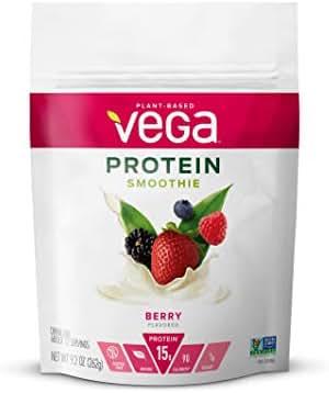 Vega Protein Smoothie, Berry, 12 Servings, 9.2 oz Pouch, Plant Based Vegan Protein Powder, Keto-Friendly, Gluten Free, Non Dairy, Vegan, Non Soy, Non GMO  - (Packaging may vary)