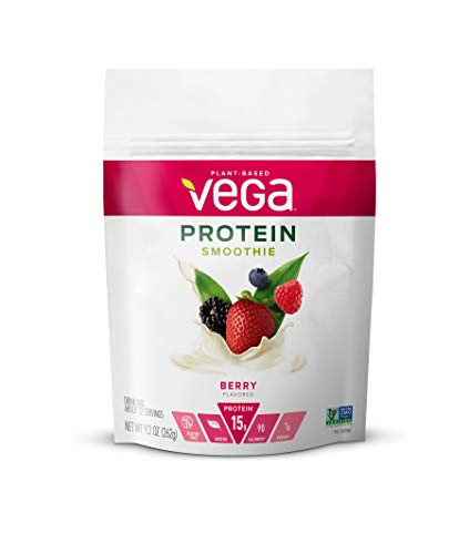 Vega Protein Smoothie Berry 12 Servings 92 oz Pouch Plant Based Vegan Protein Powder KetoFriendly Gluten Free Non Dairy Vegan Non Soy Non GMO   Packaging may vary