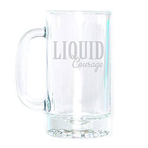 (Engraved Glass 16 oz. Beer Mug - Liquid Courage)
