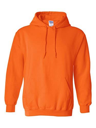 Novelty Knit Jacket - Gildan Men's Heavy Blend Fleece Hooded Sweatshirt G18500, Safety Orange, Small