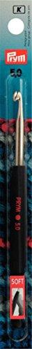 Prym 195178 Woll-Häkelnadeln Soft-Griff Alu 14 cm 5,00 mm, silberfarbig