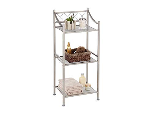 Home Decor Bathroom Storage Shelf with 3-Tiers and Mesh Shelving | Restroom Space Saver with Satin Nickel Finish (Classic Style)