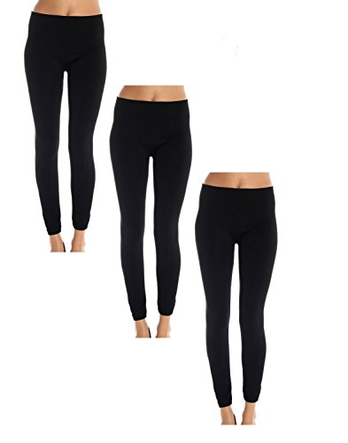 - American Casual Women's 3 Pack Fleece Lined Leggings (Large/X-Large-Black )
