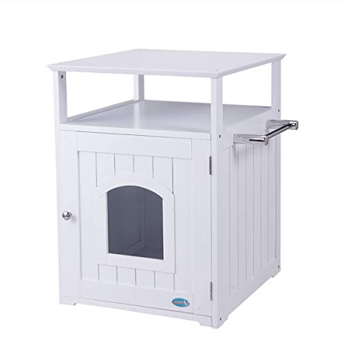 Tobbi Pet House Litter Box Furniture Indoor Wooden Kitten Puppy Bed in White